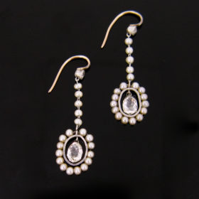 Briolette Cut Diamonds Pearls Earrings