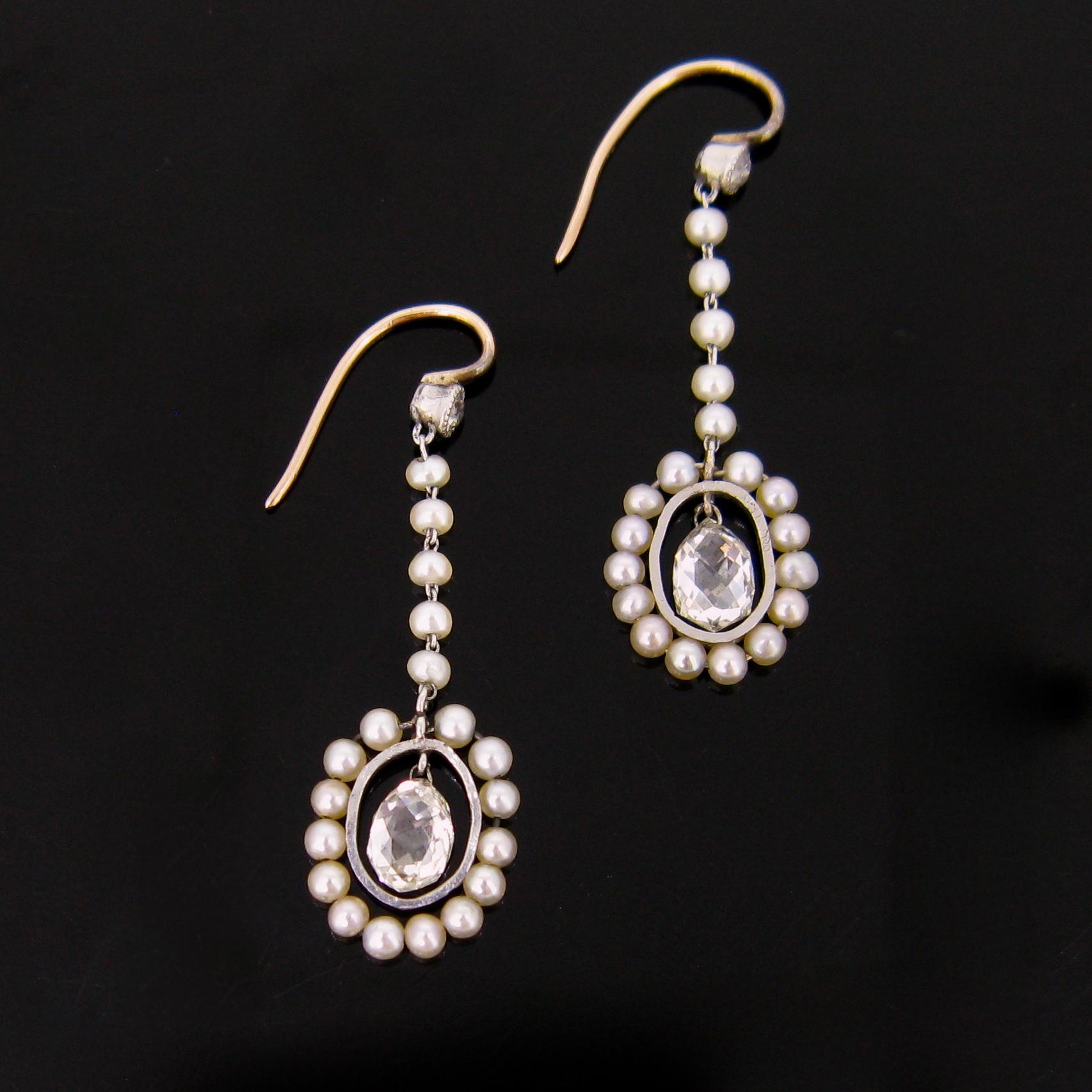 Briolette Cut Diamonds Pearls Earrings