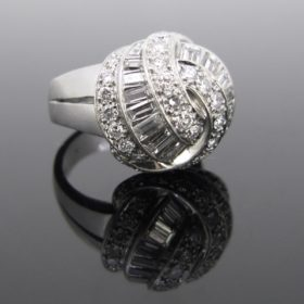 Platinum Brillliant Cut & Tappers Diamonds Ring