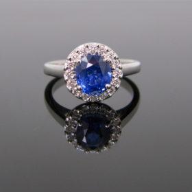 Sapphire Diamonds Cluster Ring