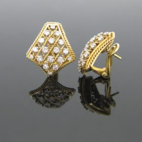 Twisted Gold Diamonds Earrings
