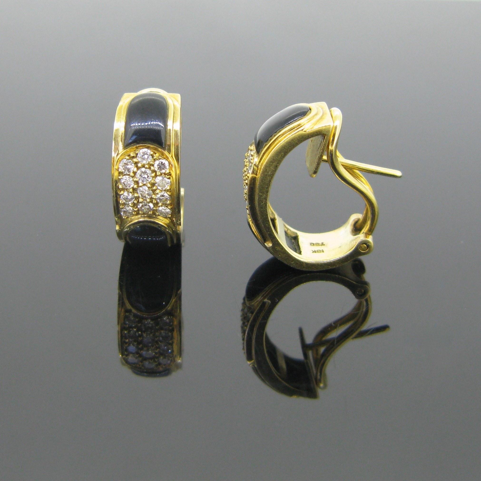 Onyx and Diamonds Earrings