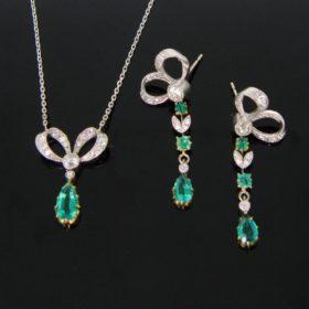 Edwardian Emeralds Diamonds Jewellery Set