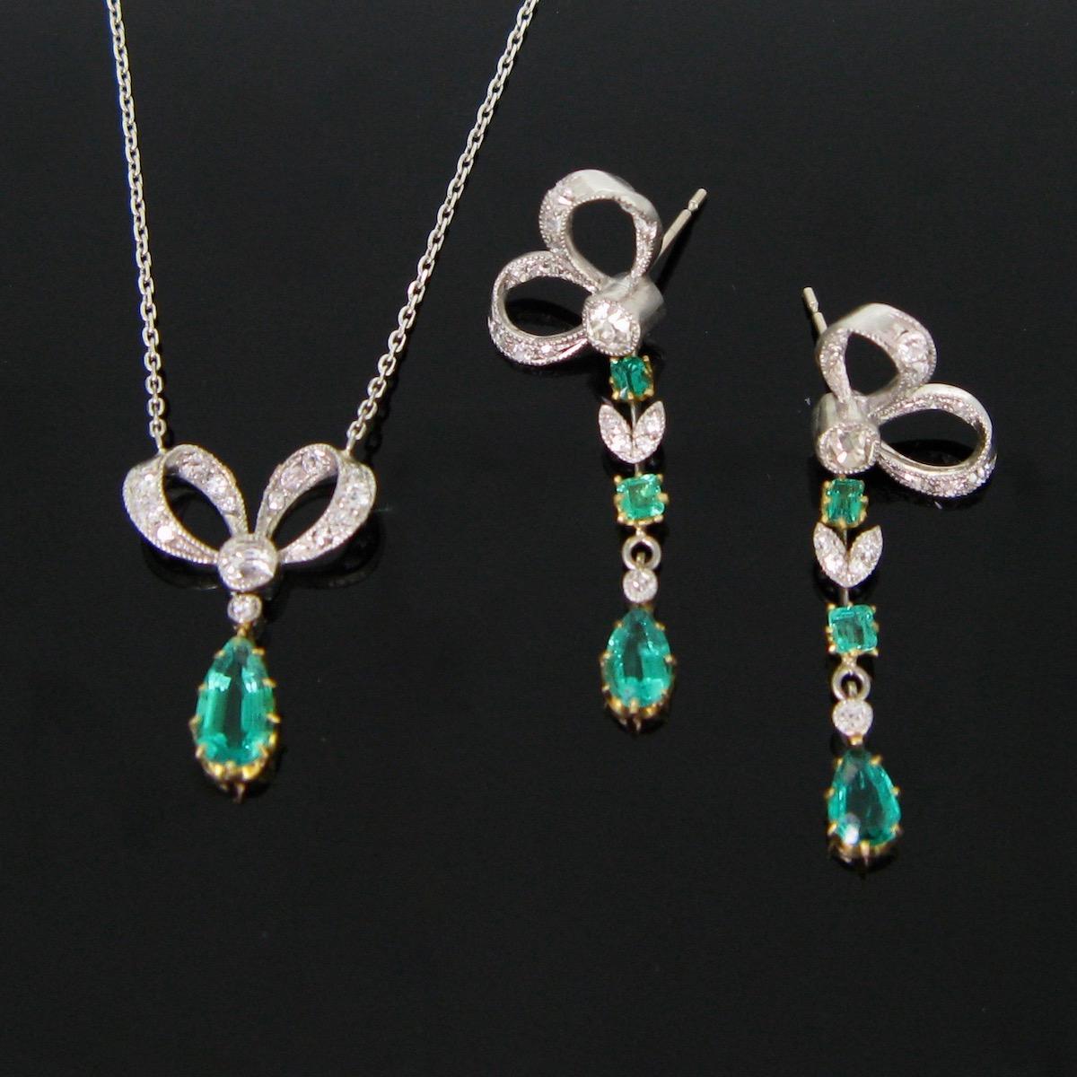 Edwardian Emeralds Diamonds Jewellery Set