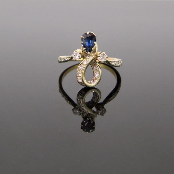 Art Nouveau Sapphire Diamonds Ring