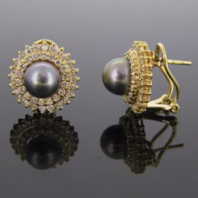 Tahitian Pearls Diamonds Earrings