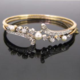 Antique French Diamonds Pearls Bangle