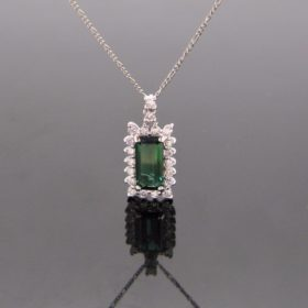 Tourmaline Diamonds Cluster Pendant