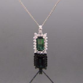 Tourmaline Diamonds Cluster Pendant