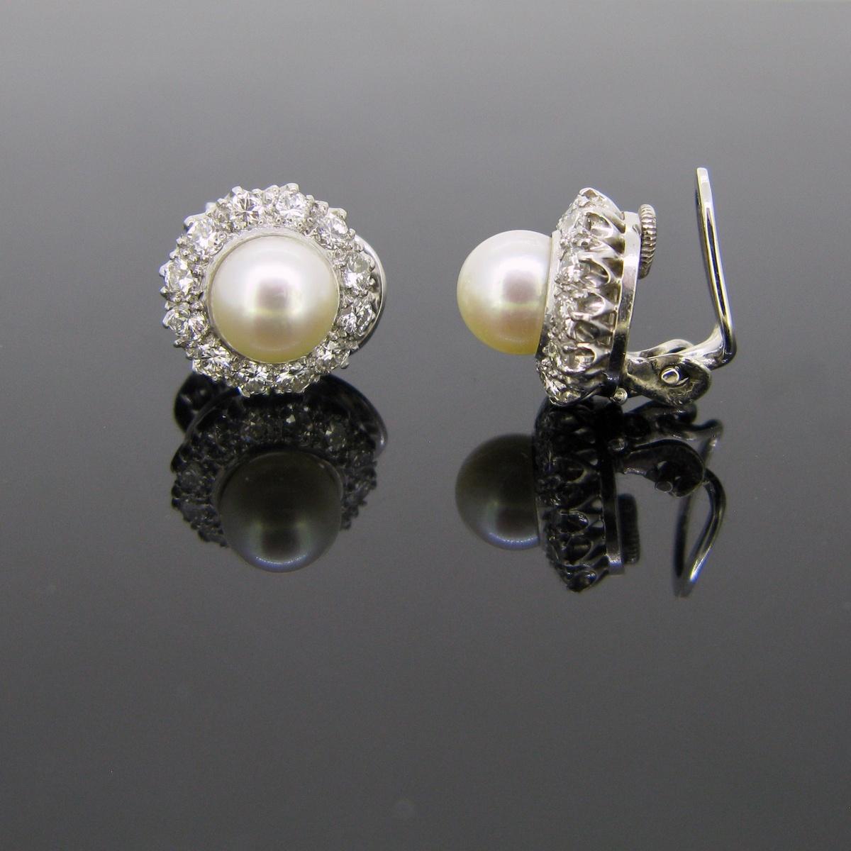 Pearls Diamonds Earrings Clips