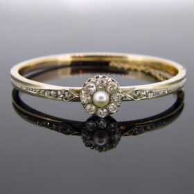 Antique French Pearl Diamonds Bangle