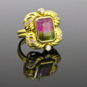 Watermelon Tourmaline & Diamonds Ring