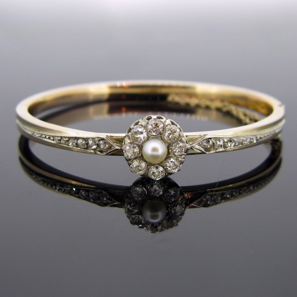 Antique French Pearl Diamonds Bangle