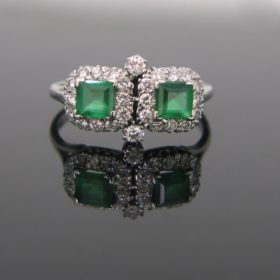 Emeralds Diamonds Cluster Ring