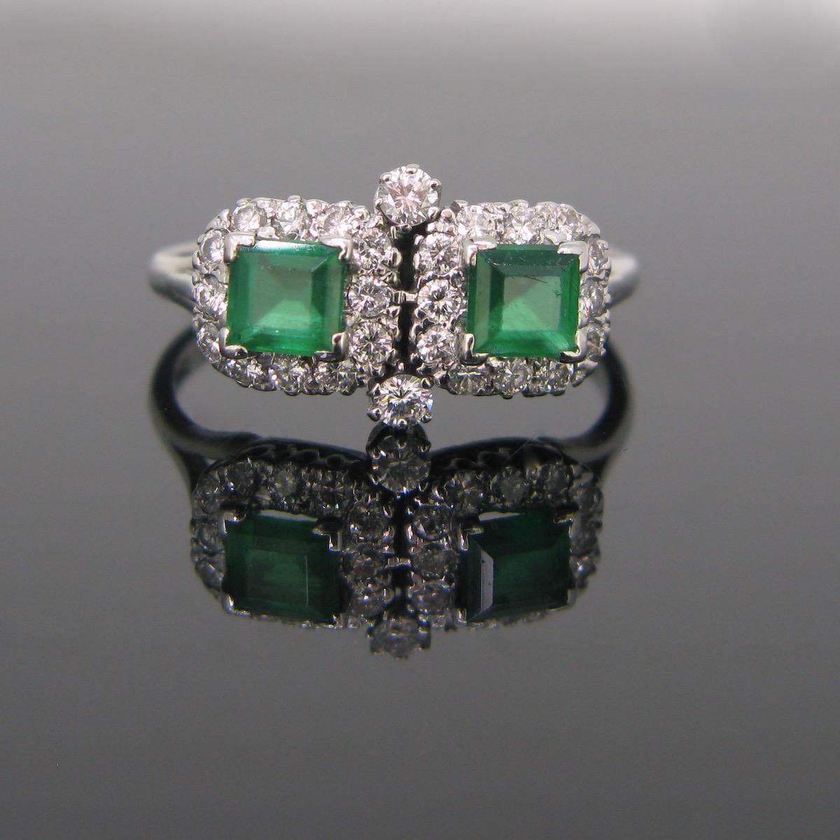 Emeralds Diamonds Cluster Ring