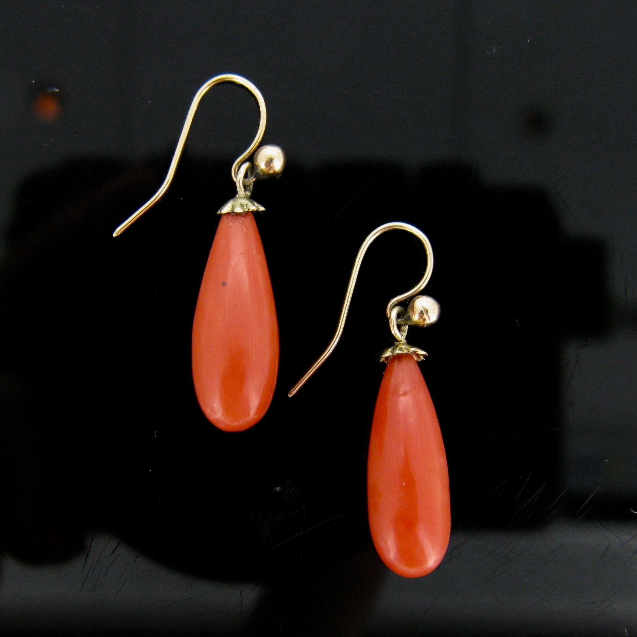 Victorian Yellow Gold Coral Earrings