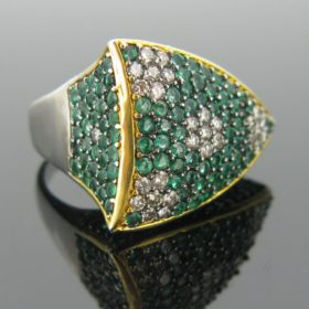 Emeralds and Diamonds Design Ring