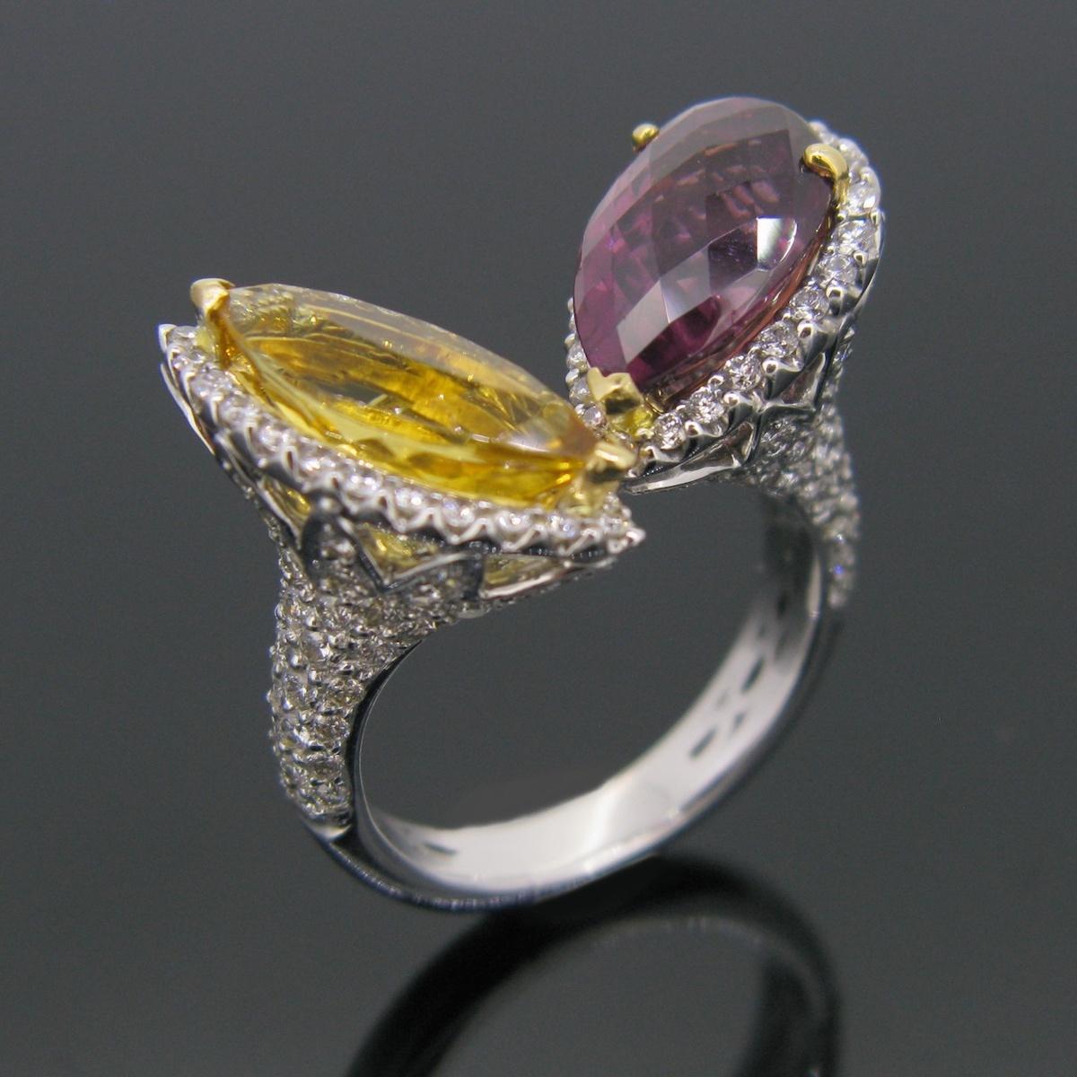 Citrine & Garnet Diamonds Ring