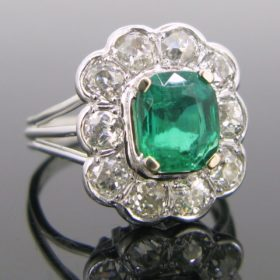 Colombian Emerald and Diamonds Cluster Ring