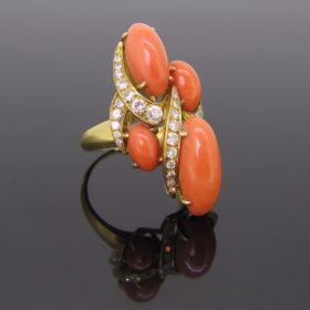 Corals and Diamonds Vintage Ring