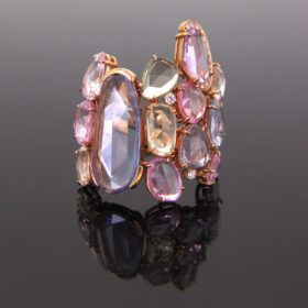 Rose Cut Sapphires and Diamonds Ring
