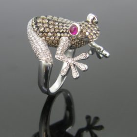 Frog Rubies & Diamonds ring by STENZHORN