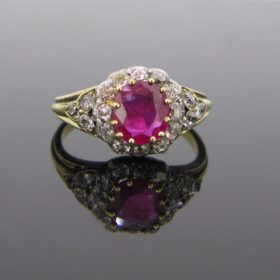 Victorian Burmese Ruby & Diamonds Ring