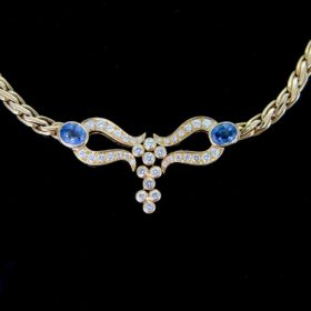 Ceylon Sapphires & Diamonds Necklace