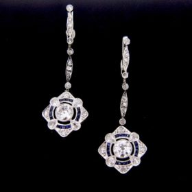 Edwardian Diamonds and Sapphires Earrings