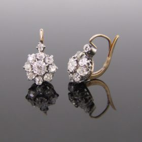 Antique French Diamonds Dormeuses/Earrings