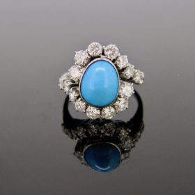 Turquoise & Diamonds Twisted Ring