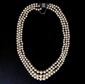 3 Rows Pearls & Diamonds Necklace