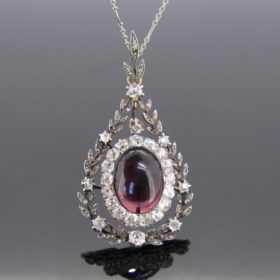 Edwardian Garnet & Diamonds Pendant