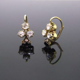 Trefoil Rose Cut Diamonds Earrings