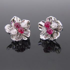 Retro Burmese Rubies & Diamonds Clips