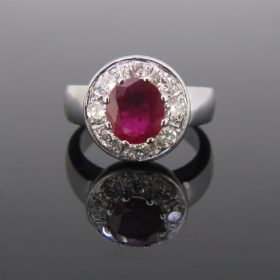 Thai Ruby & Diamonds Cluster Ring