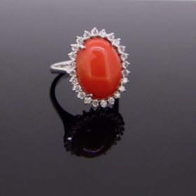 Coral & Diamonds Cluster Ring
