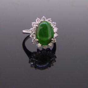 Jade & Diamonds Cluster Ring