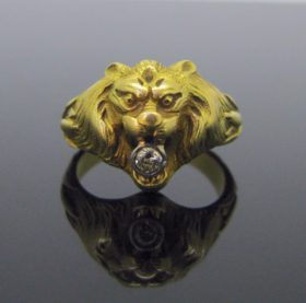 French Art Nouveau Lion Ring