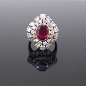 Ruby & Diamonds Cluster Ring