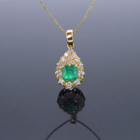Emerald and Diamonds Pendant on Chain