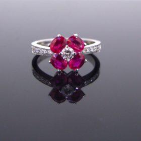 Flower Rubies Diamonds Ring
