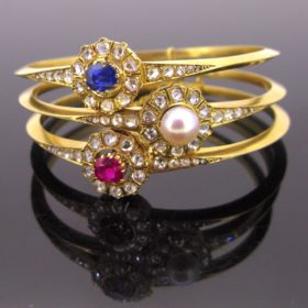 3 French Victorian Bangles
