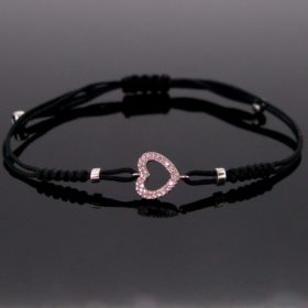 Diamonds Heart Cord Bracelet