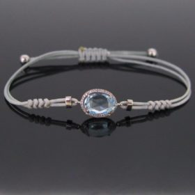 Blue Topaz & Diamonds Cord Bracelet