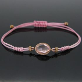 Pink Quatrz & Diamonds Cord Bracelet
