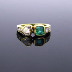 Heart Diamond and Emerald Ring