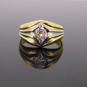 Vintage 2 Tones Gold Diamond Ring