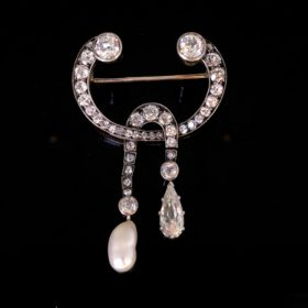 Victorian Diamonds and Pearl Brooch