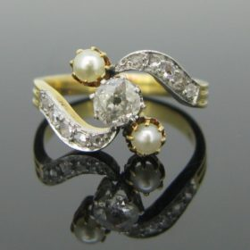 Edwardian Bypass Diamonds & Pearl Ring